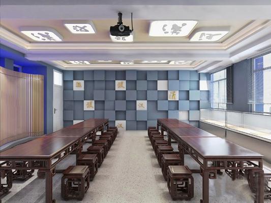 中式教室3D模型