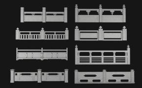 新中式户外石材栏杆组合3D模型