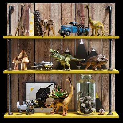 现代恐龙飞机儿童玩具组合3D模型