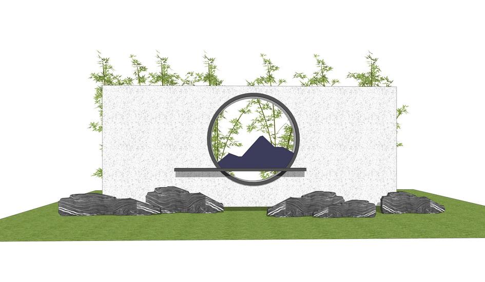 中式景墻山水景墻SU模型