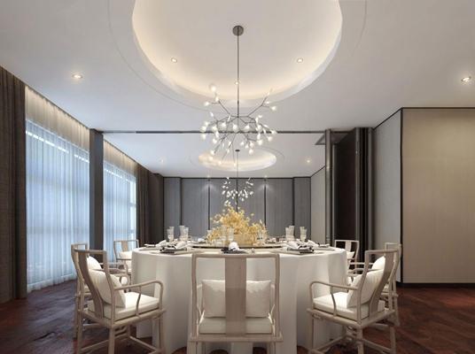 新中式餐厅包间 新中式餐厅 餐桌椅 圆餐桌 吊灯 餐具 植物