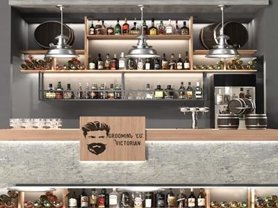 现代酒柜吧台3d模型