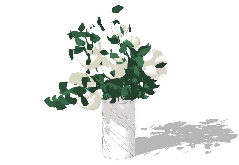 花瓶插花摆件SU模型