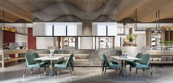 現代酒店自助餐廳3d模型