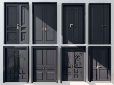 现代双开门大门3d模型