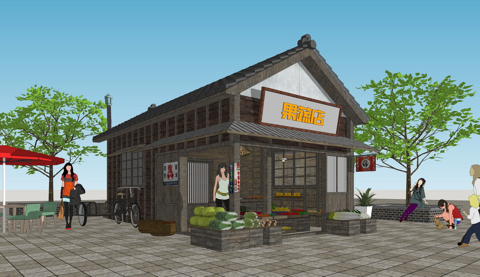 中式水果店 果蔬店 小卖部 摆摊售货亭SU模型