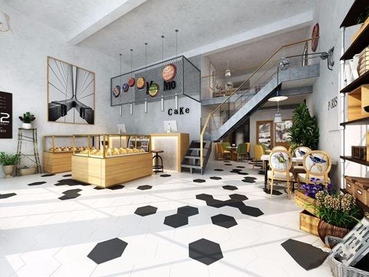 北欧蛋糕店 北欧商业零售 收银台 蛋糕柜 餐桌椅 吊灯 门头
