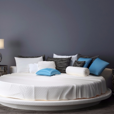现代布艺圆床双人床3D模型