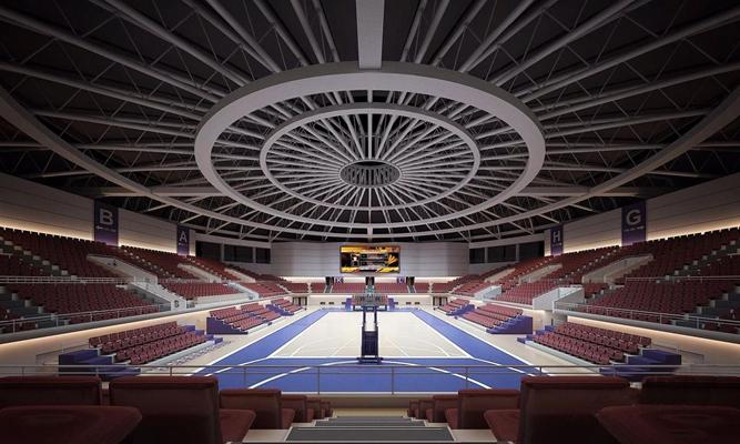 现代篮球馆 篮球馆 吊顶 观众席