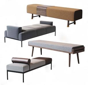 现代床尾椅组合 现代凳子 床尾椅 长凳