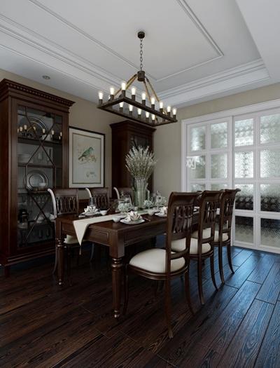 美式餐厅 美式餐厅 餐桌椅 餐边柜 餐具 吊灯 装饰画