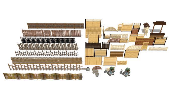 竹木篱笆组合SU模型