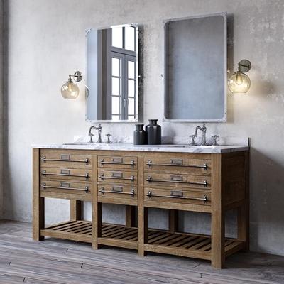 工业风洗手台盆组合 工业风卫浴柜 洗手台 壁灯 镜子