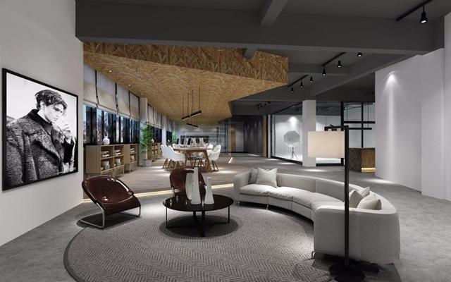 办公场所 服装店 办公室 展厅 休息室 半圆形沙发 茶几 单人椅 吊灯 落地灯 装饰画 办公桌 椅子 矮柜