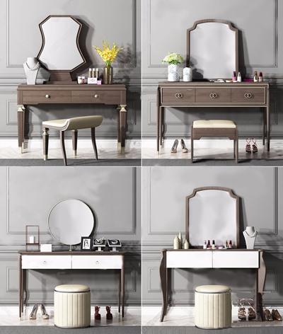 现代梳妆台组合 现代梳妆台 梳妆镜 化妆品 凳子 梳妆台组合