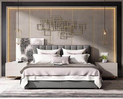 现代床具 现代双人床 床头柜 金属墙饰 床头灯 床品 背景墙