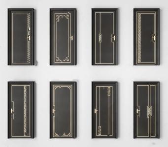 新中式平开门组合 新中式门 中式门 平开门