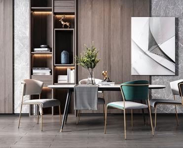 现代餐桌椅组合 现代餐桌椅 壁柜 长桌子 餐椅 单椅 花瓶 饰品摆件 金属椅子