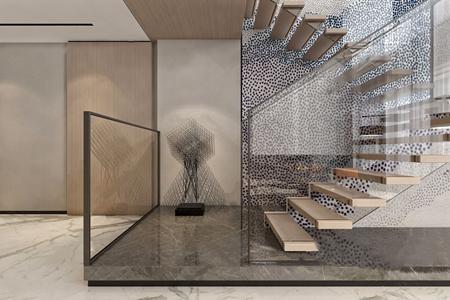 现代楼梯间 现代摆件 楼梯间 玻璃墙 装饰摆件 铁艺摆件