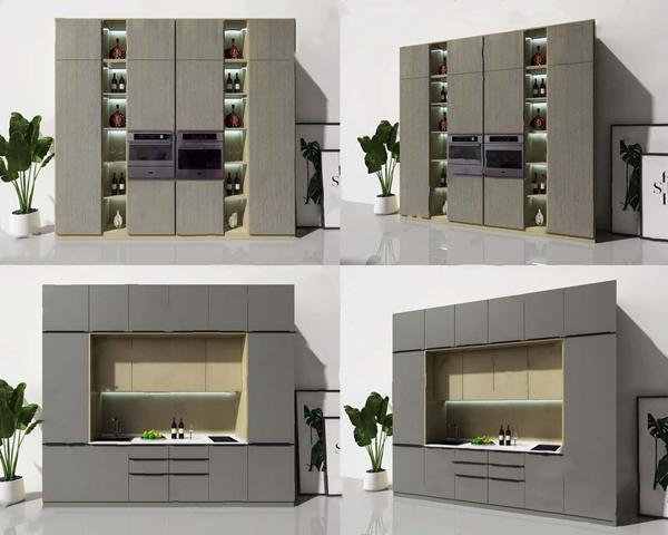 现代电器柜橱柜组合 现代厨房用品 酒柜 橱柜 绿植洗手台 烤箱