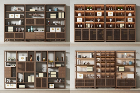 新中式书柜酒柜组合 新中式书柜 酒柜 瓷器 饰品摆件组合