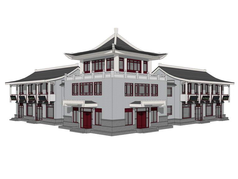 中式商业楼SU模型