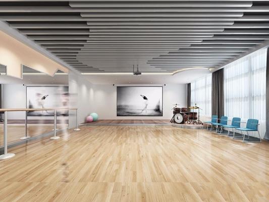 现代多功能舞蹈室 现代学校 舞蹈教室 多功能室 架子鼓 椅子