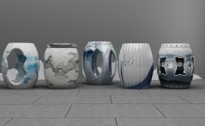 新中式青花瓷鼓凳3D模型