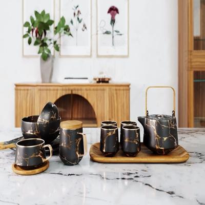 现代轻奢茶具餐具套装 现代茶具 餐具 花卉 花瓶 相框 装饰品 摆件