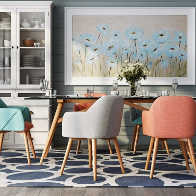 现代餐桌椅餐边柜挂画组合3D模型
