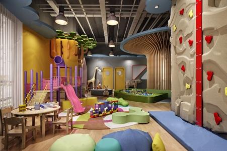 现代幼儿园儿童娱乐室 现代学校 桌椅组合 异行凳 攀岩 滑梯 泡泡池 儿童玩具