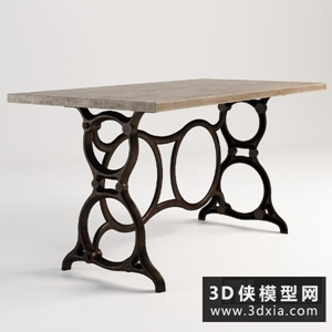复古花铁艺褪实木桌子