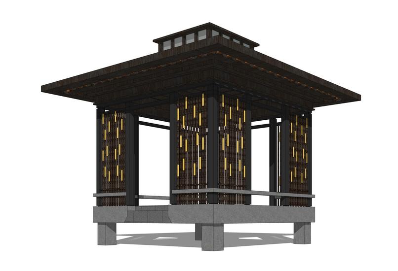 中式凉亭SU模型