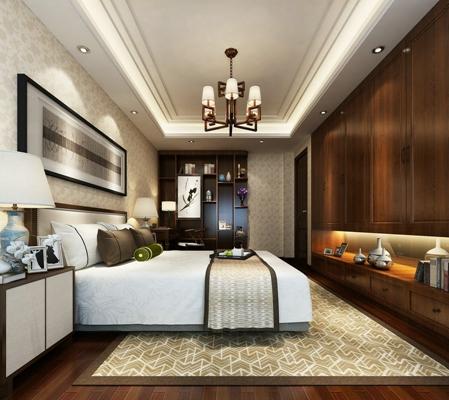 新中式白色长方形双人床