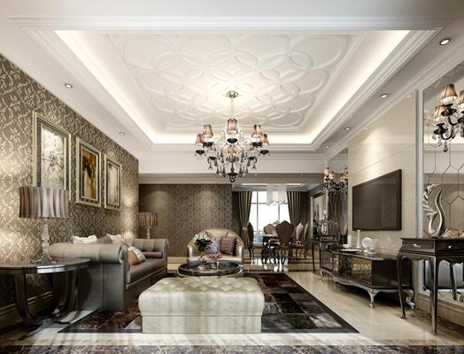 欧式新古典家居客厅 欧式新古典铁艺吊灯 欧式新古典木艺电视柜