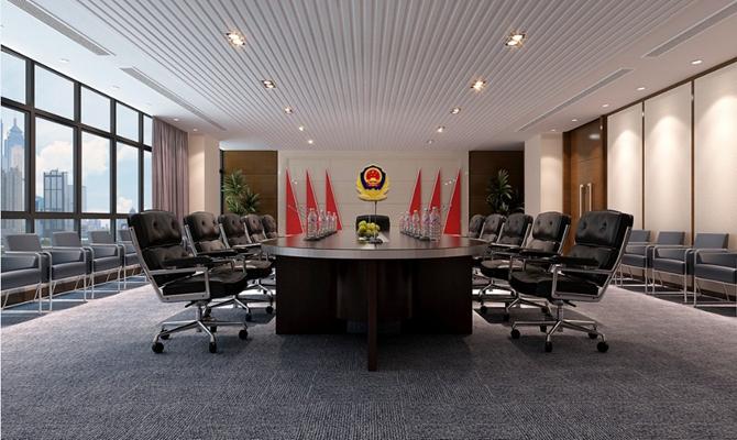 现代会议室 现代黑色皮质办公椅