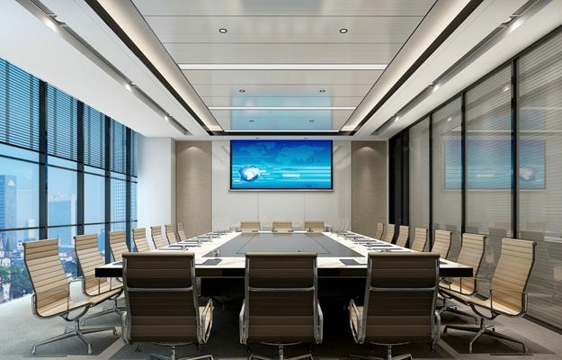 现代会议室 现代铁艺办公桌椅组合 蓝色投影幕布