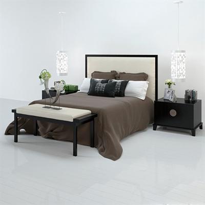 新中式原木色木艺双人床