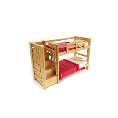 现代原木色木艺双层床