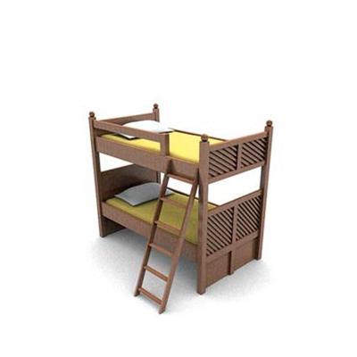 现代棕色木艺双层床