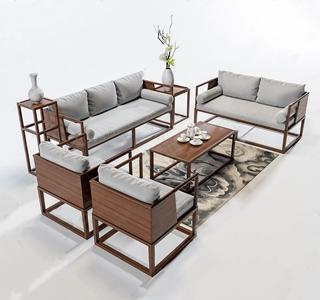 新中式组合沙发 新中式组合沙发 多人沙发 双人沙发 单人沙发 茶几 边几 花架 地毯