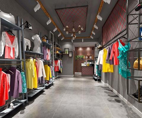工业风服装店 工业风服装店 工装 衣服 鞋子 包包 货架