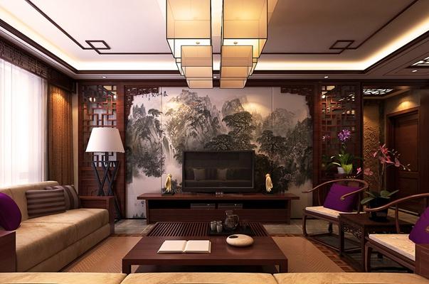 传统中式家居客厅 传统中式木艺沙发茶几组合 传统中式木艺椅子茶几组合 传统中式木艺吊灯