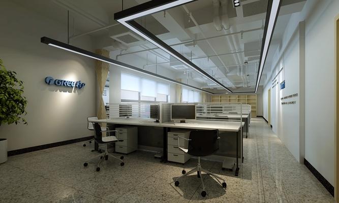 工业风办公室 现代白色木艺办公桌班台