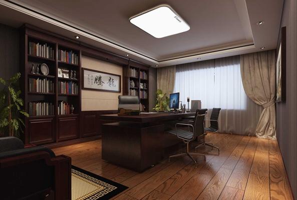 现代原木色董事长办公室 现代原木色木艺办公桌椅组合 现代原木色木艺书柜