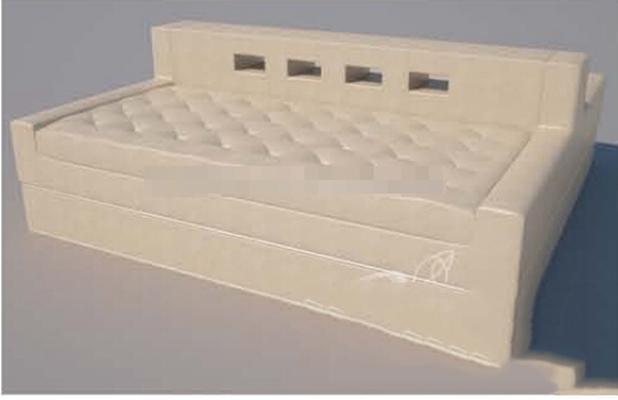 現代米色布藝沙發床