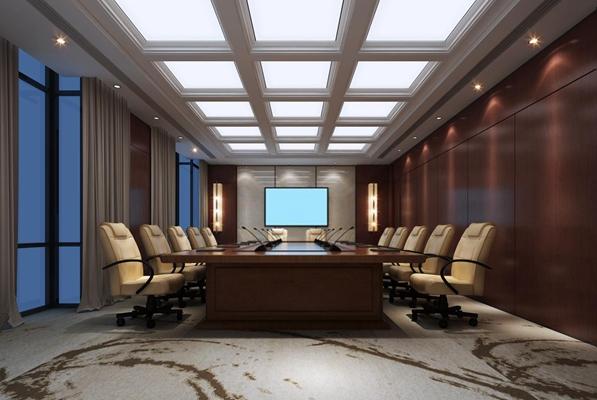 会议室 现代会议室 实木会议桌 壁灯 单椅 皮质转椅