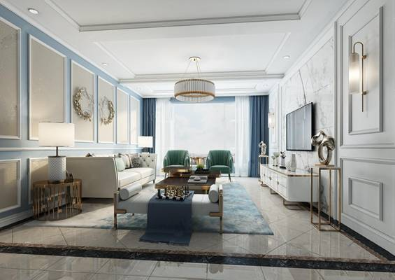 后现代客厅 吊灯 多人沙发 单人沙发 茶几 装饰柜 摆件 台灯 壁灯 沙发凳