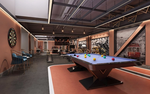 工业风健身房 工业风健身房 台球桌 单椅 沙包 运动器械 飞镖