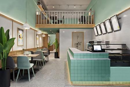 北欧清新奶茶店 北欧咖啡厅 前台 餐桌 单椅 吊灯 植物 奶茶制作机器 甜品